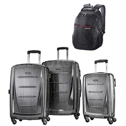 Winfield 2 Fashion Hardside 3 Piece Spinner Set - Charcoal w/ Business Backpack