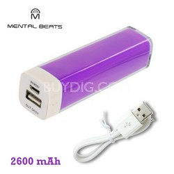 2600mAh Battery Bank Charger with Micro-USB Charging Cable - Purple