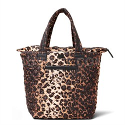 BROVERR Floral Print Quilted Tote Bag - Leopard