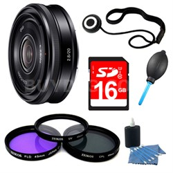 SEL20F28 E-mount 20mm F2.8 Prime Lens 8 GB Bundle