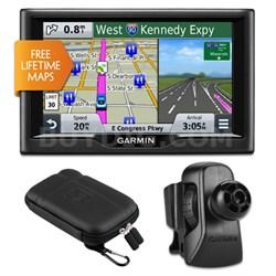 """nuvi 58LM 5"""" Essential Series 2015 GPS Lifetime Maps Vent Mount & Case Bundle"""