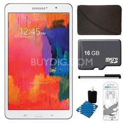 """Galaxy Tab Pro 8.4"""" White 16GB Tablet, 16GB Card, Headphones, and Case Bundle"""