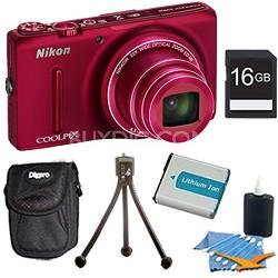 COOLPIX S9500 18.1 MP 22x Zoom Built-In Wi-Fi Digital Camera Red Plus 8GB Kit