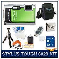 Stylus Tough 6020 Waterproof Shockproof Digital Camera (Green) w/ 16 GB Memory