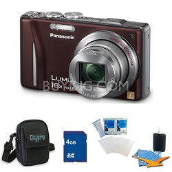 Lumix DMC-ZS10 14.1 MP Camera 16x Zoom Optical I.S. Lens w GPS Brown 4 GB Bundle