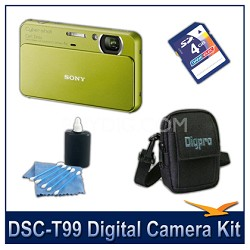 DSC-T99 14MP Green Touchscreen Digital Camera with 4GB Card, Case, and more