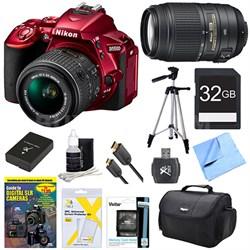 D5500 Red DSLR Camera 18-55mm Lens, 55-300 Lens, 32GB, and Battery Bundle