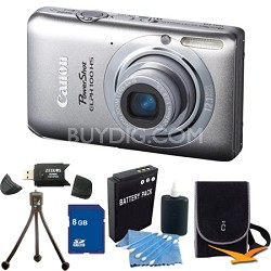 PowerShot ELPH 100 HS Silver Digital Camera 8GB Bundle