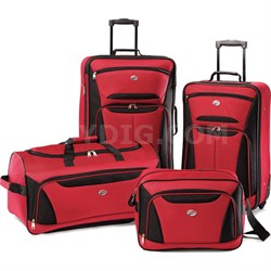 Fieldbrook II Four-Piece Luggage Set (Red/Black) - OPEN BOX