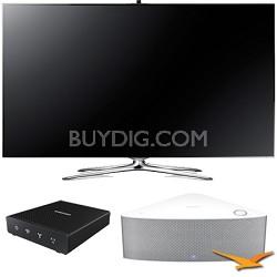 """UN60F7500 - 60"""" 1080p 240hz 3D Smart LED HDTV with SHAPE Audio Bundle - White"""
