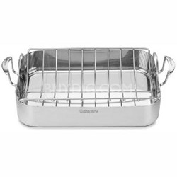"""MCP117-16BR Multiclad Pro Stainless 16"""" Rectangular Roaster with Non-Stick Rack"""