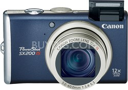 PowerShot SX200 12MP 12x Zoom Digital Camera (Blue)