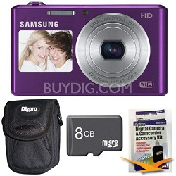DV150F Dual-View 16.2 MP Smart Camera with Built-in Wi-Fi Plum 8GB Kit