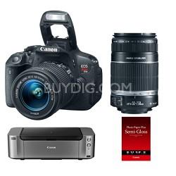 EOS Rebel T5i DSLR w/  18-55 & 55-250 STM Lenses + Pro 100 Printer & Paper