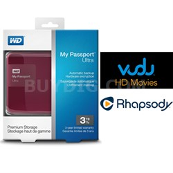 My Passport Ultra 3 TB Portable External HD Berry + $30 Vudu & 3 Months Rhapsody