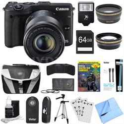 EOS M3 24.2MP Mirrorless Camera w/ EF-M 18-55 + 55-200mm Lens 64GB Deluxe Bundle