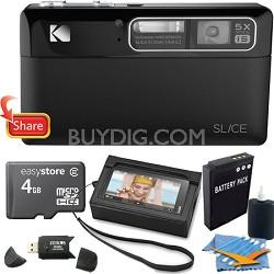 "Slice 14MP 3.5"" LCD Touchscreen Black Digital Camera 4GB Bundle"