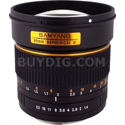 85mm F1.4 Aspherical Lens for Nikon AE with Automatic Chip
