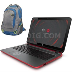 """15-p030nr 15.6"""" AMD Quad-Core Special Edition Beats Laptop & Wenger Backpack"""