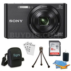 DSC-W830 Cyber-shot Black Digital Camera 8GB Bundle