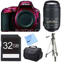 D5500 Red Digital SLR Camera, 55-300 Lens, and 32GB Bundle