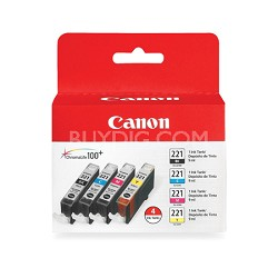 CLI-221 4 Color Value Pack for MP990, MP640, MP560, iP4700 Printers