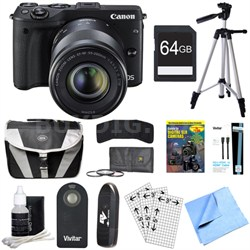 EOS M3 24.2MP Black Mirrorless Camera w/ EF-M 18-55 + 55-200mm Lens 64GB Bundle