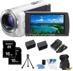 HDR-CX260V HD Camcorder 16GB 30x Optical Zoom with Geotagging (White) Bundle