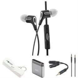 R6i Headphone w/ iOS Mic & Controls iPod/iPhone/iPad (Blk) w/Headphone Bundle