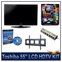 """55"""" 1080p LCD HDTV + Flat Mount + Hook-Up + Power Protection + Calibration DVD"""