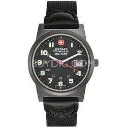 Swiss Classic Field Watch Men's Gun Metal Black Dial w/ Black Nylon Strap