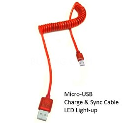 Micro USB Cable with LED Light - Red