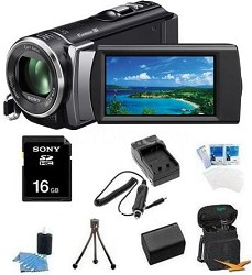 HDR-CX210 HD Camcorder 8GB Camcorder w/ 25x Optical Zoom (Black) Bundle