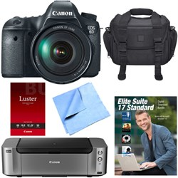 EOS 6D DSLR Camera 24-105mm F4L Lens /Corel Suite/Case/Pro-100 Printer Bundle
