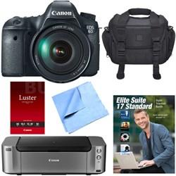 EOS 6D DSLR Camera 24-105mm F4L Lens /Office Suite/Case/Pro-100 Printer Bundle