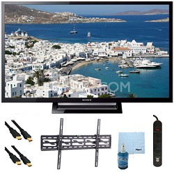 """32"""" 720p LED HDTV Motionflow XR 120 Plus Tilt Mount & Hook-Up Bundle KDL32R420B"""