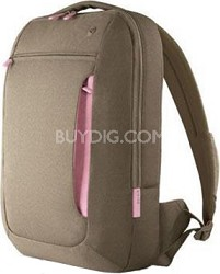 F8N087-KPP 15-Inch Messenger Bag (Khaki/Powder Pink)