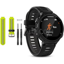 Forerunner 735XT GPS Running Watch with Yellow Band Bundle - Black/Gray