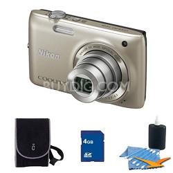 COOLPIX S4100 14MP Silver Digital Camera 4GB Bundle