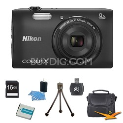 """COOLPIX S3600 20.1MP 2.7"""" LCD Digital Camera with 720p HD Video Black Kit"""