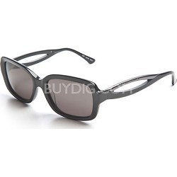 Women's Sunglasses: Black Frame, Grey Lens With keyhole Design and