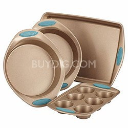 Cucina 4-Piece Bakeware Set Latte Brown with Agave Blue Handle Grips
