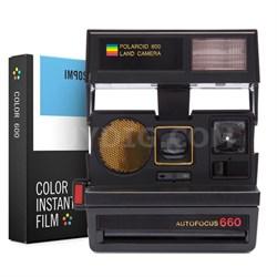 Polaroid 600 Sun 660 AF Camera w/Auto Flash w/ Instant Lab Color Film Bundle