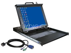 "1U 17"" LCD Rack Tray W/ 16 Port KVM switch and 8 Cables"