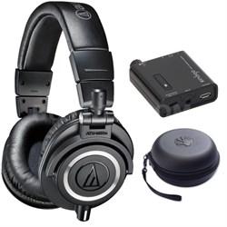 ATH-M50X Professional Studio Black Headphone w/ Slappa Case + Fiio Amp Bundle