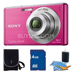 Cyber-shot DSC-W530 Pink Digital Camera 4GB Bundle