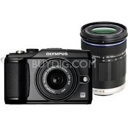 PEN E-PL2 Digital Camera W/14-42mm II & 40-150mm Lenses (Black)