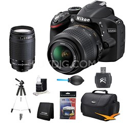 D3200 DX-format Digital SLR Kit w/ 18-55mm and 70-300mm (MANUAL FOCUS) Lens Kit