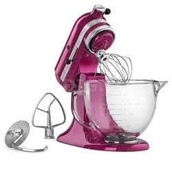 Artisan Series 5-Quart Stand Mixer in Raspberry Ice with Glass Bowl - KSM155GBRI