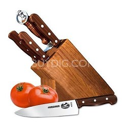 7-Piece Knife Set with Block, Rosewood Handles